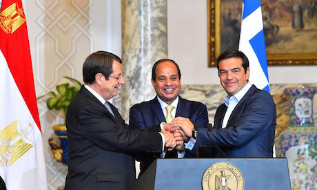 Egyptian president ElSisi with Cypriot and Greek counterparts during a tripartite meeting in Cairo (Al-Ahram)