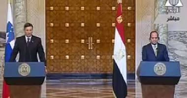 Slovenian president Pahor with the Egyptian President Elsisi in Cairo (Youm7)