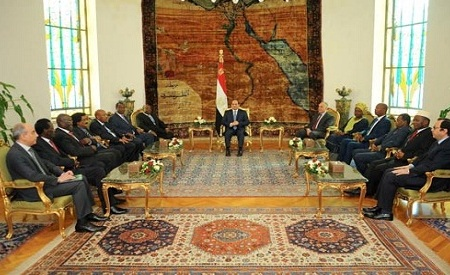Egypt president ElSisi with African ministers in Cairo Ahram