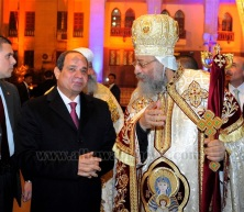 The Egyptian president El-Sisi at the Coptic cathedral in Cairo to celebrate Christmas (Albawaba news)
