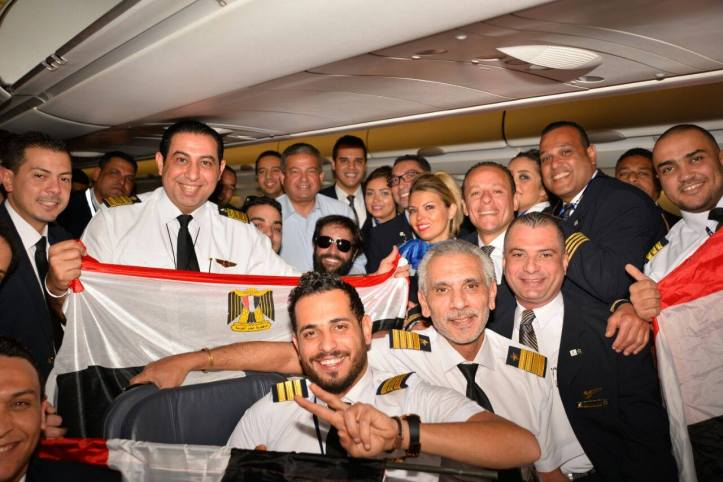 Egyptian fans celebrating on the plane transporting them to Gabon to attend the African final 2017