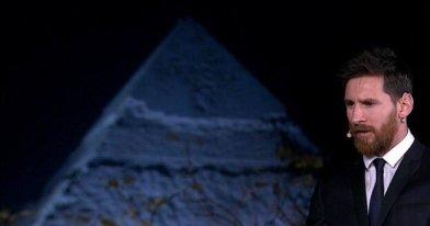 Lionel Messi at the Giza Pyramids of Egypt 2017