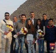 Argentinian Football Superstar Lionel Messi being welcomed by the children of Egypt to the land of the Pharaohs, at the Giza Pyramids 2017