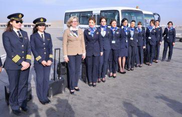 EgyptAir all-women flight crew (Pilots and Flight Attendants) during International Women's Day, 2017