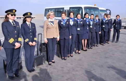 EgyptAir all-women flight crew (Pilots and Flight Attendants) during International Women's Day, 2017