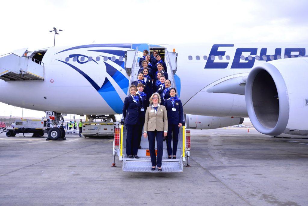 EgyptAir all-women flight crew (flight attendants) during International Women's Day, 2017