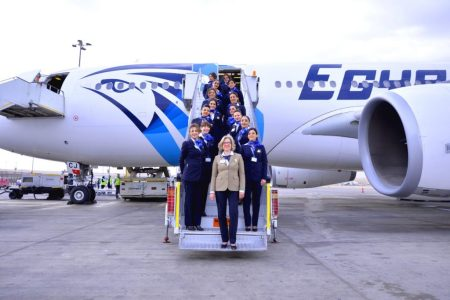 EgyptAir all-women flight crew (flight attendants) during International Women's Day, 2017