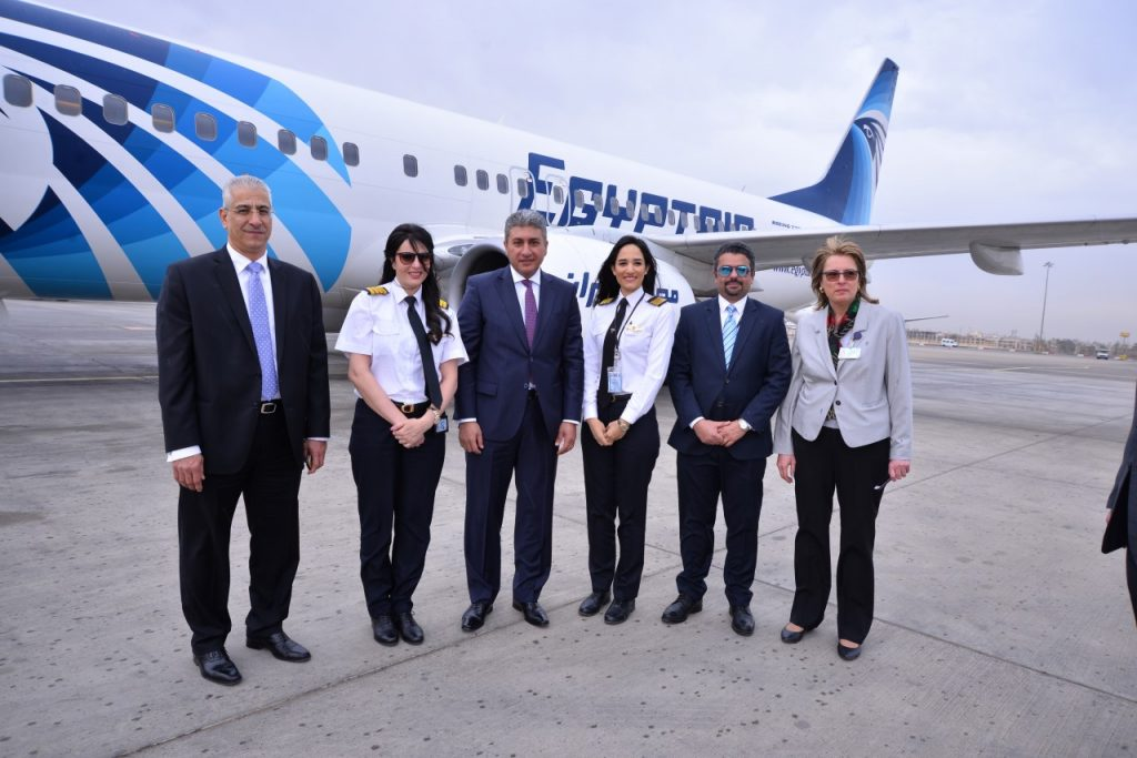 EgyptAir women pilots with the administration officials during International Women's Day, 2017