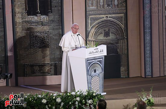 Pope Francis speech in Cairo at Al-Azhar University International Conference of Peace (source: Youm7)