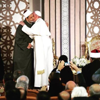 Pope Francis and Grand Imam Ahmed El-Tayeb in Cairo at Al-Azhar University International Conference of Peace (Source: Vatican's pope Facebook page)