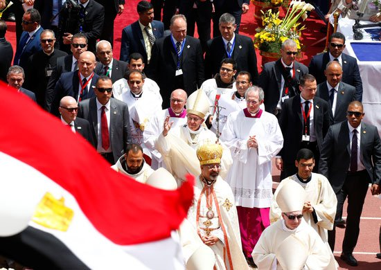 Pope Francis Mass in Cairo Stadium Egypt 2017, here seen greeting the crowds before ending mass (Source: Youm7)