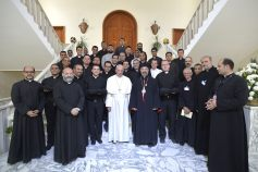 Pope Francis visits the Coptic Catholic Theological School in Cairo Egypt for mass (source: Youm7)