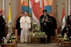 The Catholic Roman Pope Francis of the Vatican meets with Coptic Orthodox Pope Tawadros of Alexandria Egypt in the Coptic Cathedral of Cairo (source: Youm7)