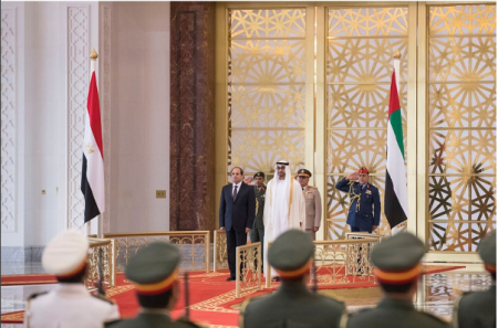 President El-Sisi of Egypt with Crown Prince Al-Nahyan from the UAE in Abu Dhabi (source: Youm7)