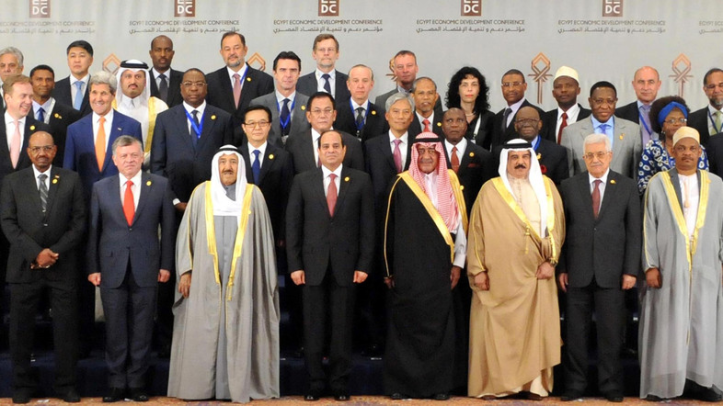 Meeting of Arab leaders and Global leaders in the Egyptian Economic Conference of 2015 with President El-Sisi of Egypt in front center