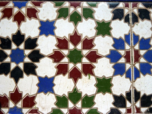 Traditional Arabic tiles with distinctive and artistic patterns.