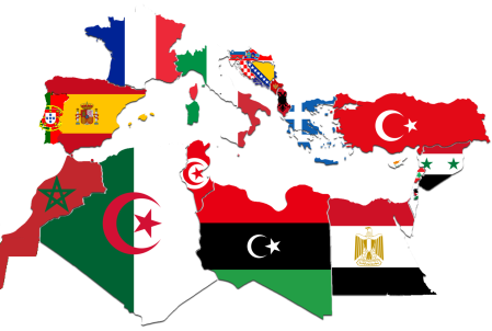 The Mediterranean Countries by flag map (source: edited version based on original by CaptainVoda)