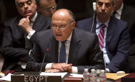 2017-06-10 Egyptian Minister of Foreign Affairs calls to stop funding of terrorism at the United Nations 2017 (Source: Al-Ahram)