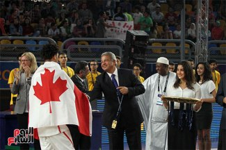 2017-07-09 FIBA under-19 basketball Canada award by Egyptian Minister of Sports Cairo Stadium Egypt - Youm7
