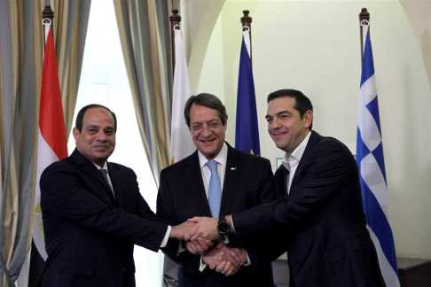 2017-11-23 Cyprus, Greece and Egypt President El-Sisi during Tripartite Summit in Nicosia 2017