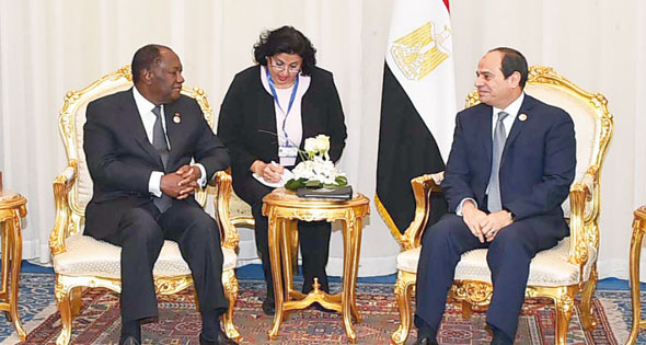 2017-12-10 Cote d'ivoire president Ouattara and El-Sisi of Egypt during Africa 2017 summit Sharm El-Sheikh Al-Ahram