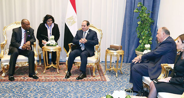 2017-12-10 Presients of Egypt El-Sisi and Guinea Conde during Africa 2017 Summit Sharm El-Sheikh Al-Ahram