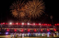 2017-12-31 Al-Ahly Atletico Madrid friendly match fireworks at stadium - peace message - Alexandria 2017 - Al Ahram