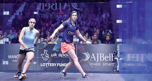 2017-12-31 Raneem El-Weleily and Nour El-Sherbini in the PSA Squash Women World Final - Manchester England 2017 - Al-Ahram