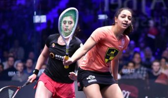 2017-12-31 Raneem El-Weleily and Nour El-Sherbini in the PSA Squash Women World Final - Mnchester England 2017 - Youm7