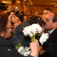 2018-01-21 Egypt President Elsisi greeted by Egyptians at Nativity of Christ Coptic Orthodox Church in Cairo AlAhram