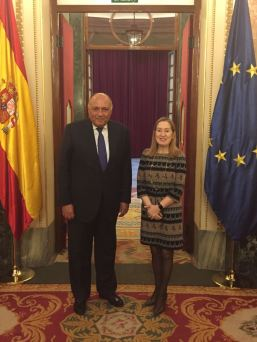 2018-02-18 Egyptian Foreign Minister Sameh Shoukry with Spanish congress President Ana Pastor Youm7