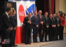 2018-03-15 President Elsisi of Egypt welcoming the Fifa World Cup during its tour in Cairo Youm7