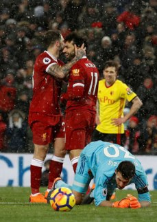 2018-03-18 Mo Salah celebrates his goal with Liverpool against Watford in Premier League 02 Youm7