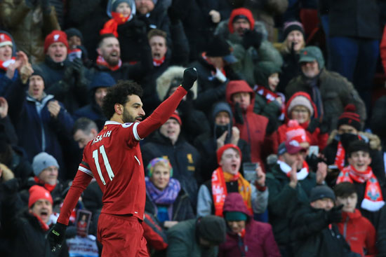 2018-03-18 Mo Salah celebrates his goal with Liverpool against Watford in Premier League 03 Youm7