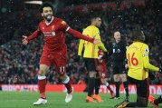 2018-03-18 Mo Salah celebrates his goal with Liverpool against Watford in Premier League 05 Youm7