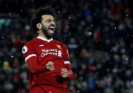 2018-03-18 Mo Salah celebrates his goal with Liverpool against Watford in Premier League Youm7