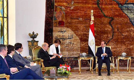 2018-04-30 French Minister FA Le Drian and Egyptian President El-Sisi in Cairo Egypt - Al-Ahram