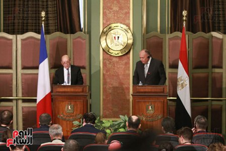 2018-04-30 French Minister FA Le Drian and Egyptian Sameh Shoukry during press conference Cairo 01 - Youm7
