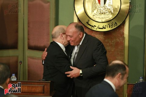 2018-04-30 French Minister FA Le Drian and Egyptian Sameh Shoukry during press conference Cairo 02 - Youm7