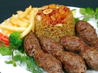 2018-07-04 Egyptian Cuisine Kabab and Kofta with rice moamar Elmenus