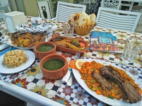 2018-07-04 Egyptian Cuisine Moloukhia mashawi rice and bread meal Elmenus