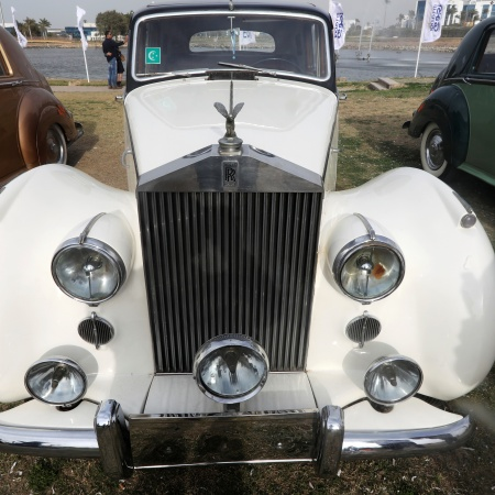 A white classic Rolls Royce Silver Wraith model is seen on display at the 7th Cairo Classic Meet in Cairo