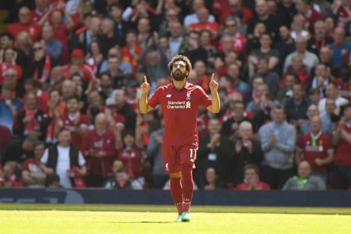 2019-04-08 Egypt Salah celebrates 32 goal in English Premier League 2017-2018 01 Youm7