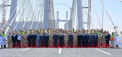 2019-05-17 President of Egypt ElSisi opens Rod El Farag axis suspended bridge with contractors and officials