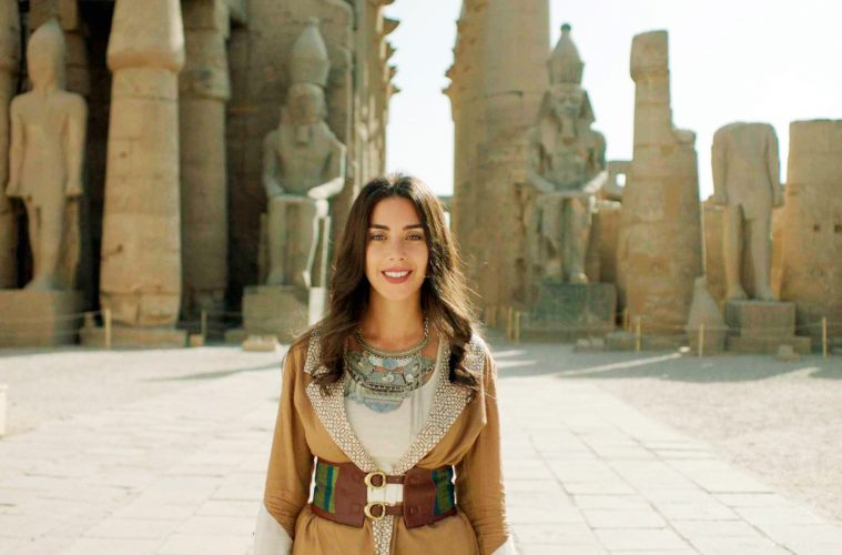 2019-05-22 Malak El Husseiny Egyptian singer at the Karnak temple of Luxor