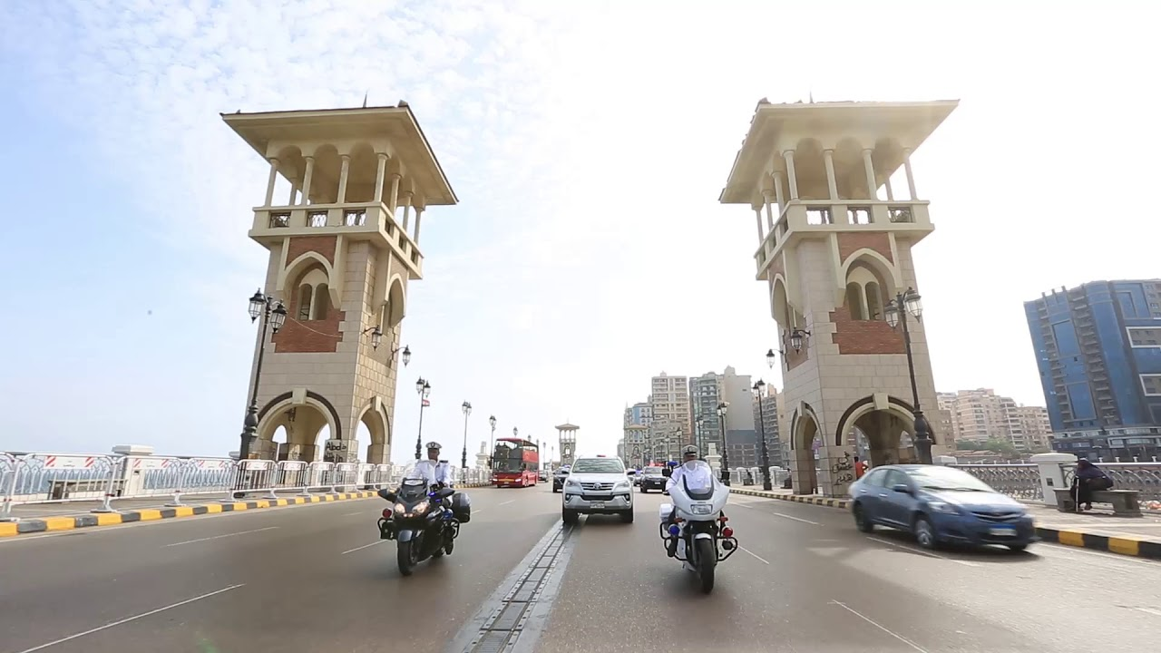 2019-06-19 Egypt Traffic Police Units on Stanley Bridge over the Mediterranean in Alexandria